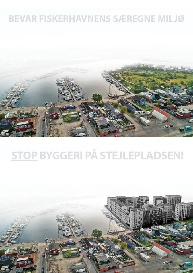 To billeder af Fiskerhavnen - et aktuelt og et med massivt byggeri på Stejlepladsen